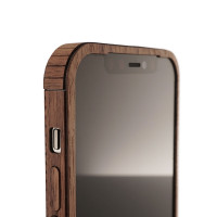 Toast wood cover for iPhone 12 Pro, front cover detail in walnut.