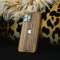 Toast wood cover to Apple iPhone 12 Pro in zebrawood.