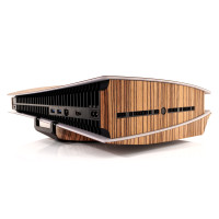 Toast wood cover for Sony Playstation 5 in zebrawood .