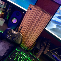 Toast wood cover for Xbox Series X in zebrawood. Photo by Joshua R.