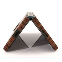 Detail of rosewood wooden skin for Fold 2 folding Smartphone.