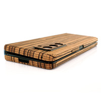 Detail of zebrawood cover for Galaxy Fold 2 phone, by Toast.