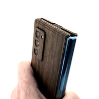 Toast wood cover for Samsung Fold2, in ebony.