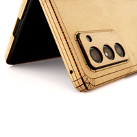 Toast wood cover wrap for Samsung Fold2, maple with laser cut details.