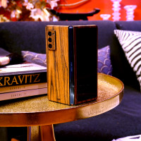 Toast wood cover for Samsung Galaxy Fold 2.  Lifestyle in zebrawood.
