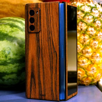Toast wood cover wrap for Samsung Fold2, rosewood lifestyle.