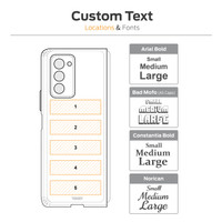 Custom text location diagram for laser engraving on Samsung Fold2 case by Toast.