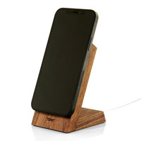 Toast stand for Apple MageSafe Charger in walnut, vertical mounting.