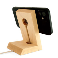 Toast stand for Apple MageSafe Charger in maple, hidden cable management.