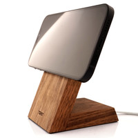 Toast stand for Apple MageSafe Charger in walnut, horizontal mounting.