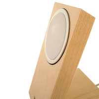 Toast stand for Apple MageSafe Charger in maple, detail.
