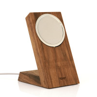 Toast real wood stand for Apple MageSafe Charger in walnut.