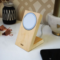 Toast solid wood stand for Apple MageSafe Charger in maple.