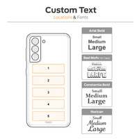 Samsung Galaxy S21 Toast cover, custom engraving locations and text sized.