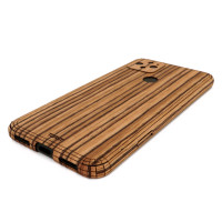 Toast wood cover for Pixel 5 in zebrawood.