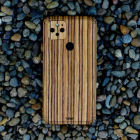 Protective case for Google Pixel 5 in real wood by Toast, zebrawood.
