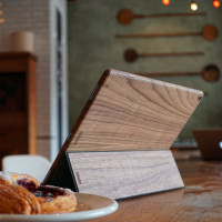 Toast wood iPad Pro 12.9 cover in Walnut, with Smart Cover, coffeeshop.