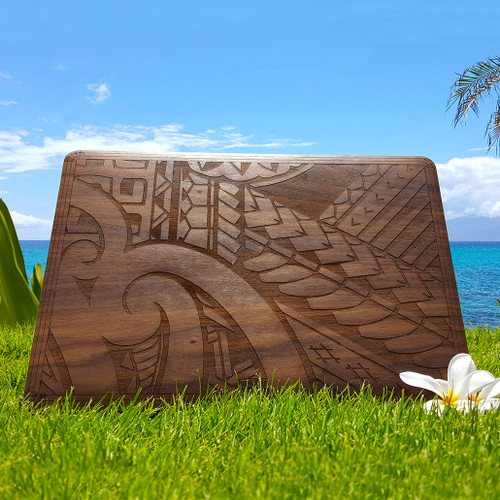 Hawaiian design custom Toast MacBook wood cover in walnut.