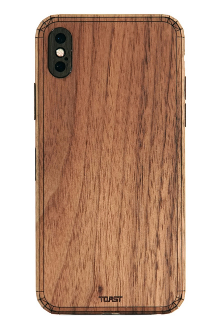 iPhone X cover in walnut.