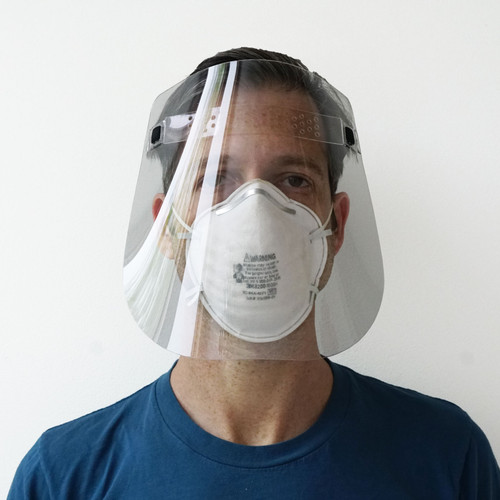 Toast PPE Face shield.  Designed to work with masks, glasses, goggles and respirators.
