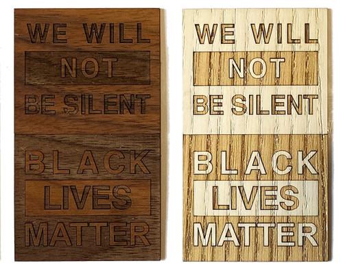 Black Lives Matter wood sticker.