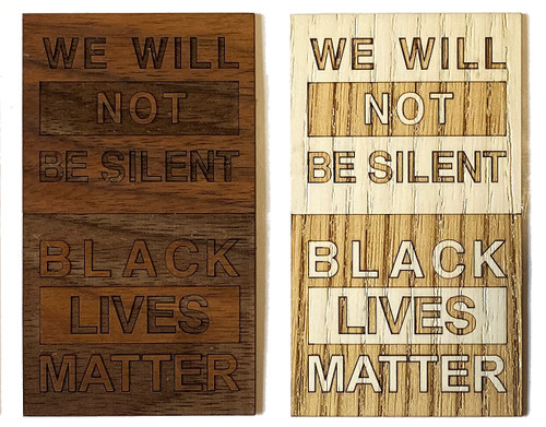 Black Lives Matter wood sticker.