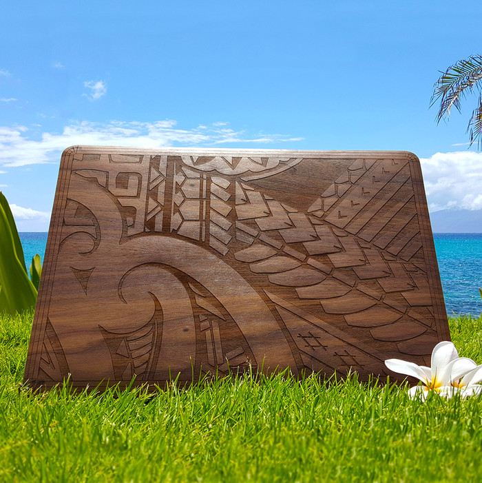 Hawaiian design custom walnut laptop cover