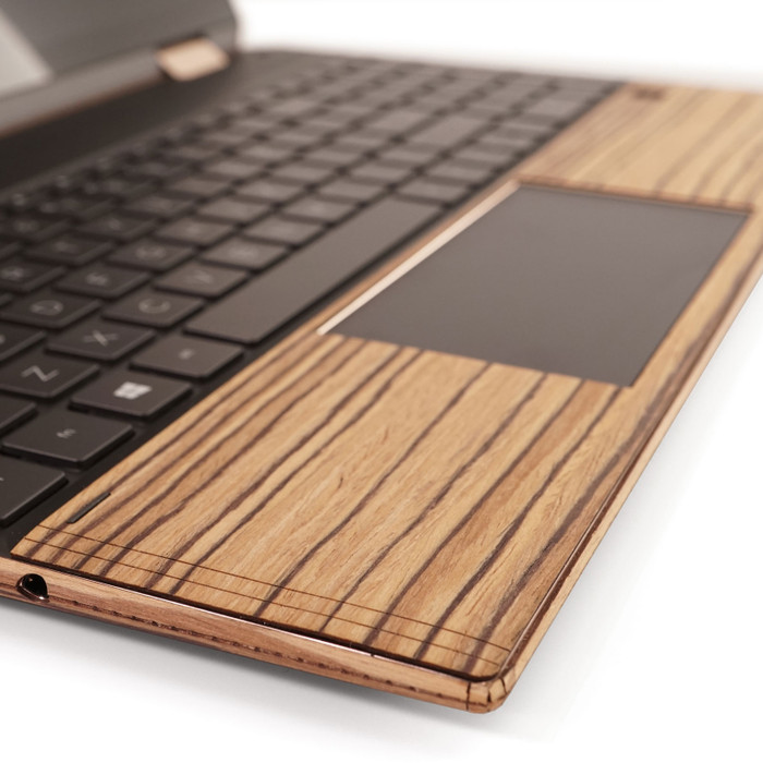 "Toast wood trackpad surround for HP Spectre 15"" in zebrawood."