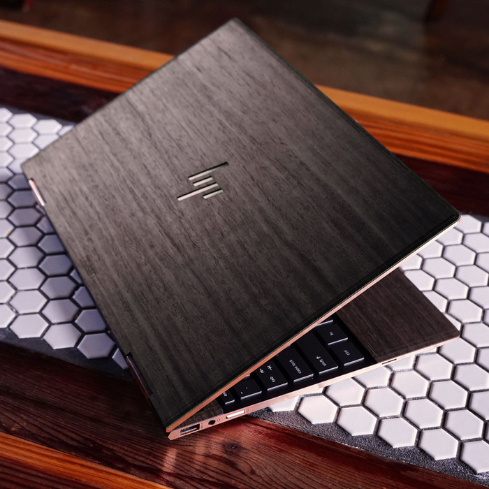 Toast HP Spectre wood cover in ebony, lifestyle.