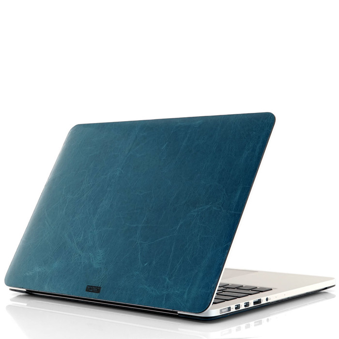 MacBook cover in bluetini leather.