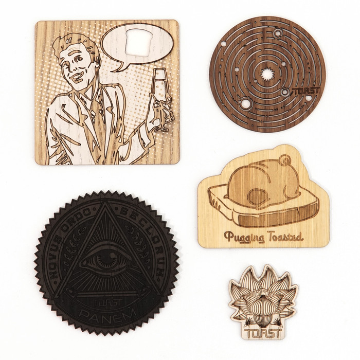 """Toastickers"" Wood Sticker Party Pack"