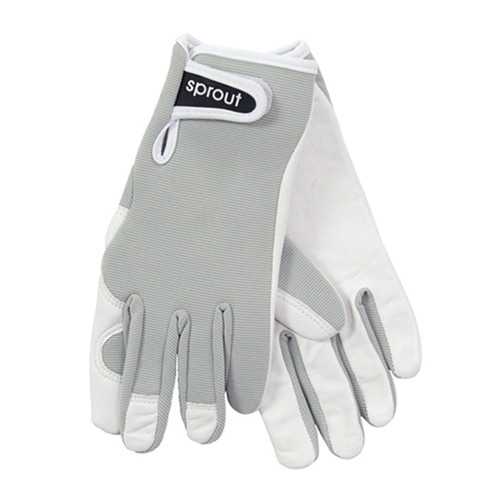 """Ladies Sprout Garden Gloves - Light Gray """"Soft on the Skin"""""""