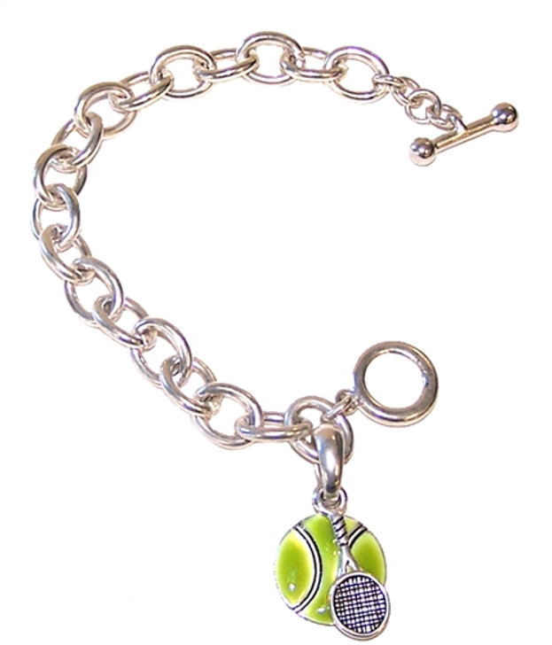 Silver Toggle Bracelet with Tennis Ball and Racquet Charms