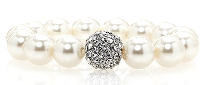 White Pearl Bracelet adorned with Crystal Accent from Swarovski®