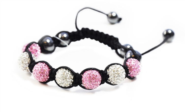 Clear and Pink Crystal Encrusted Golf Ball Shamballa Style Bracelet