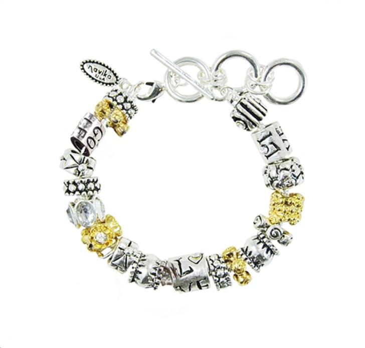 Live Love Golf Mantra Bead Toggle Bracelet