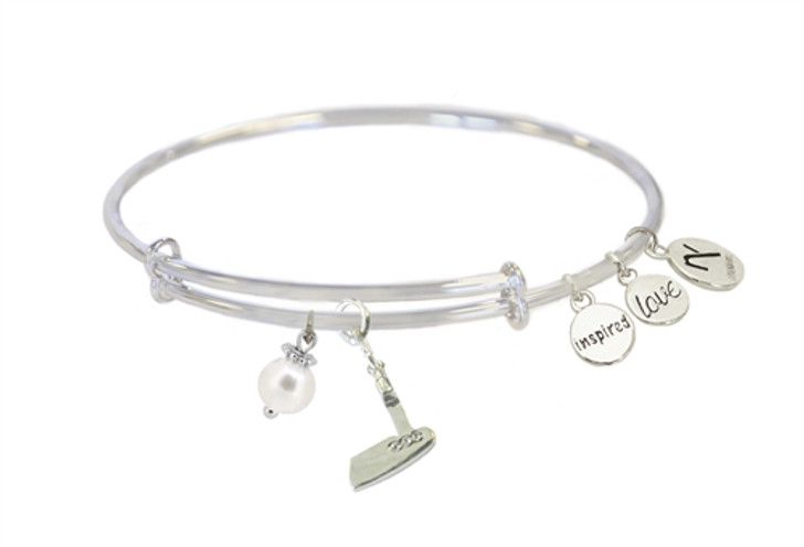 Clear Crystal Golf Putter Charm  Inspired Love Bangle