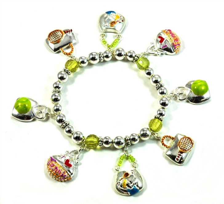 Silver Beaded Stretch Tennis Bracelet with 8 Charms