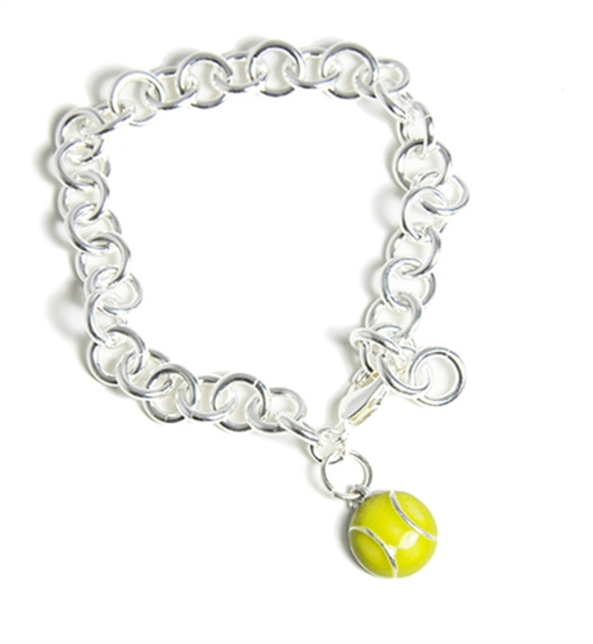 Silver Adjustable Bracelet with Flat Tennis Ball Charm