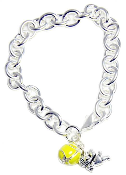 Silver Adjustable Bracelet with Tennis Ball and Angel with Racquet