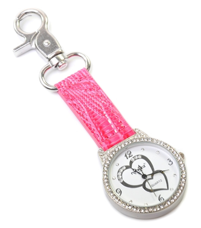 Pink Crystal Double Heart Bag Watch