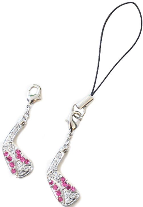 GOLF CLUB Cell Phone/Shoe Charm/Zipper Pull adorned with Pink Crystals from Swarovski®
