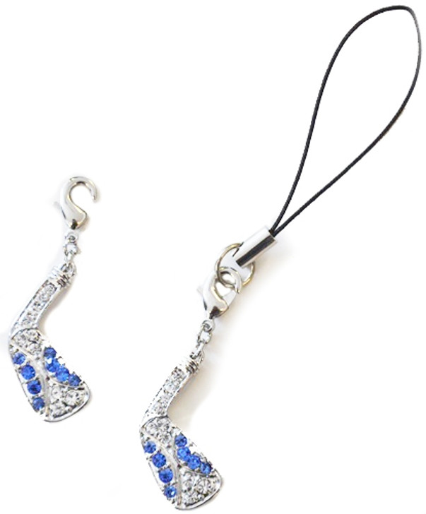 GOLF CLUB Cell Phone/Shoe Charm/Zipper Pull adorned with Blue Crystals from Swarovski®