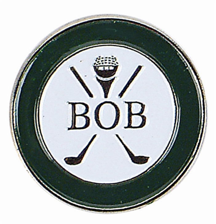 """Personalized Name """"BOB"""" Ball Marker with Hat Clip"""