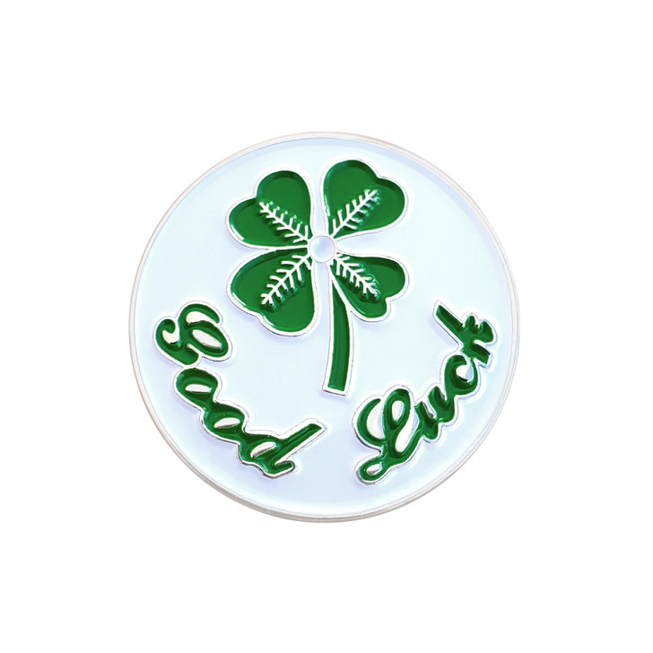 Good Luck 4-Leaf Clover Ball Marker with Hat Clip