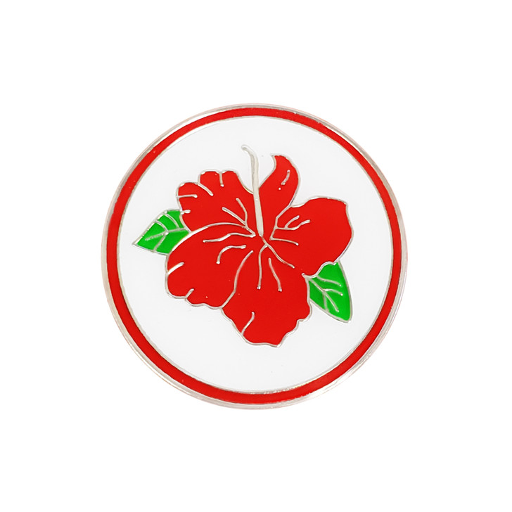 Hibiscus Ball Marker with Hat Clip