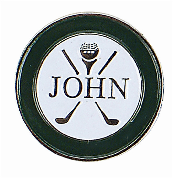 Personalized Name JOHN Ball Marker with Hat Clip