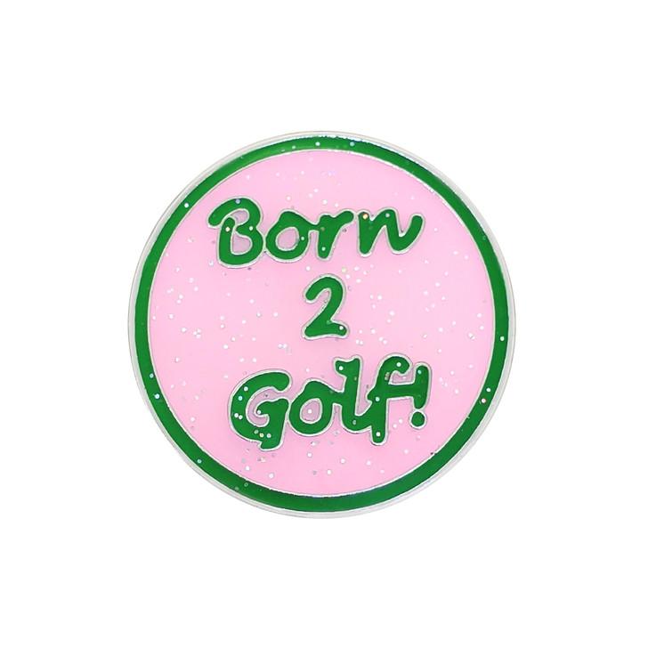 Born 2 Golf (Pink) Glitzy Ball Marker with Hat Clip