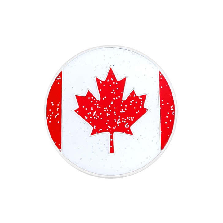 Canadian Flag Glitzy Ball Marker with Hat Clip