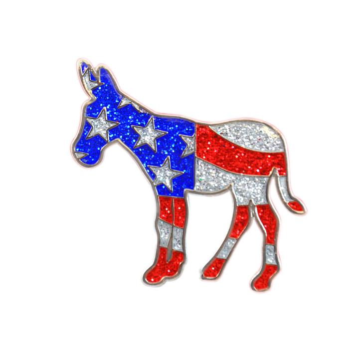Democratic Donkey Glitzy Ball Marker with Hat Clip